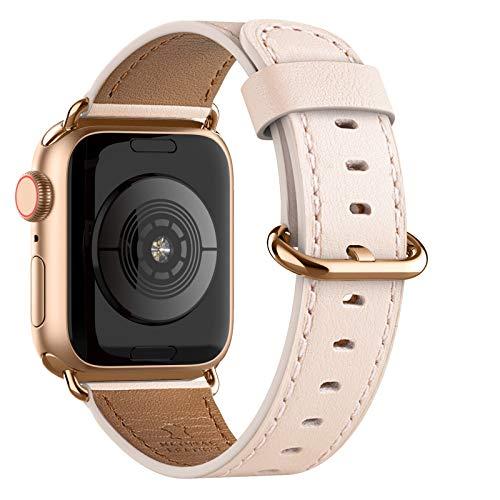 Adepoy für Apple Watch Armband Leder 38mm 40mm 42mm 44mm, Echt Lederarmband Kompatible mit iWatch Series 5/4/3/2/1(Rosa+Rose Gold Verschuluss, 42mm/44mm)
