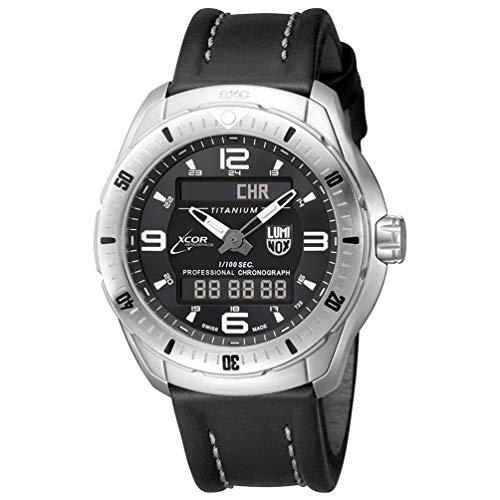 Luminox Men's SXC/XCOR Pilot Pro Titanium Swiss-Quartz Aviator Watch with Leather Calfskin Strap, Black, 23 (Model: 5241)