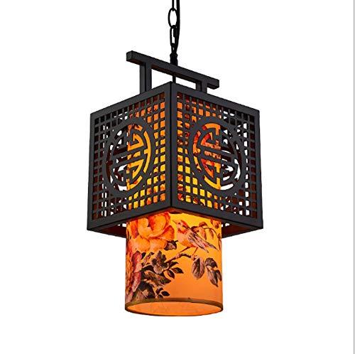 XUMINGDD Chinesische Vintage Kronleuchter E27 Kunst Pergament Laterne Loft Teehaus Hotel Clubdecoration Lampe (Farbe : C, größe : 30 * 60CM)