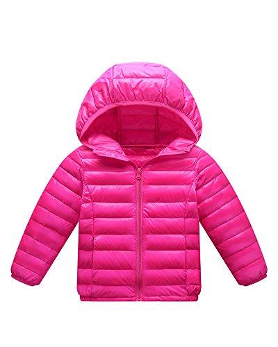 Giacche Piumino con Cappuccio Classico Ultra Leggero del Cappotto Parka Zipper Invernale per Unisex Bambine E Bambino Rose 130