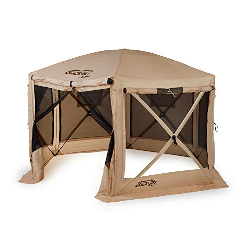 Quick Set 12.5 ft. Pavilion Portable Camping Outdoor Gazebo Canopy Shelter with Carrying Bag, Tan