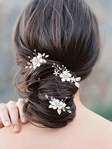 Vakkery Fleur Épingles à Cheveux De Mariage En Argent Casque De Mariée Strass Accessoires De Cheveux Pour Femmes Et Filles (Lot De 3)