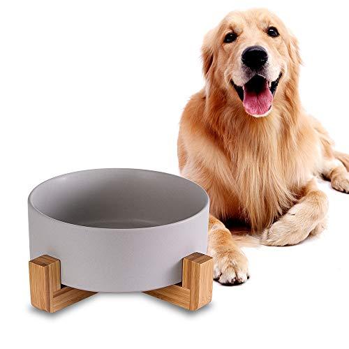 Grau Keramik Hund Futternapf mit Bambus Ständer,Rutschfest Nicht Verschüttet Hundefressnapf und Wassernapf,Extra große Kapazität Haustier Futternapf-1800 ML,Schwerer Hundenapf für Grosse Hunde