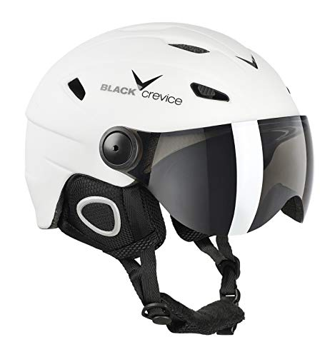Black Crevice Casque de ski avec visière style pilote Blanc/noir Taille L