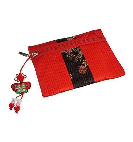 Élégant petit porte-monnaie design pour femme, couleur rouge et noir. Léger et résistant en tissu ramie. Accessoire original