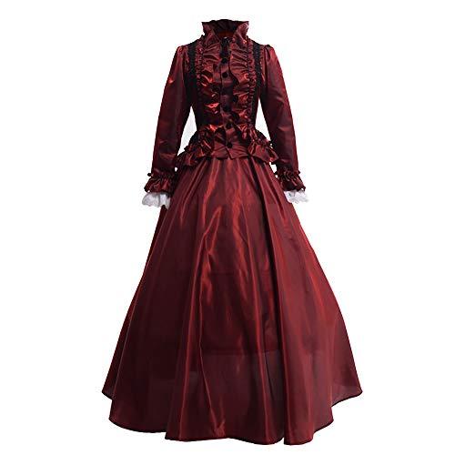 GRACEART Damen Gothic Viktorianisches Kleid Renaissance Maxi Kostüm (XL, Rot)
