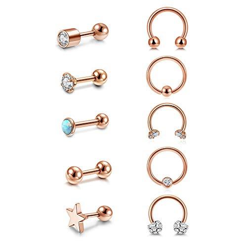 PiercingJak 10 pendientes de acero quirúrgico 16 G para hélix, cartílago, septum, herradura, tabique, nariz, labio, con estrás, ópalo, joya unisex, oro rosa