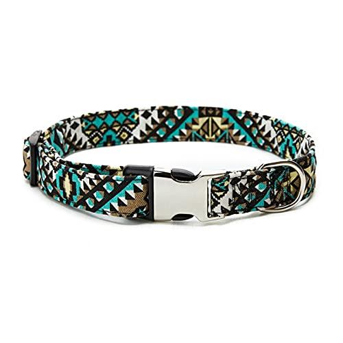 CNYG Collar de perro estilo étnico bohemio patrón floral hebilla de metal ajustable gato y perro collar C03 2.5x60cm