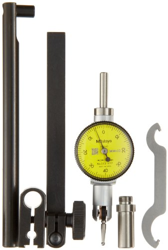 Mitutoyo 513-503T Pocket Type Dial Test Indicator, Full Set, Horizontal Type, 8mm Stem Dia., Yellow Dial, 0-100-0 Reading, 33mm Dial Dia., 0-0.2mm Range, 0.002mm Graduation, +/-0.003mm Accuracy