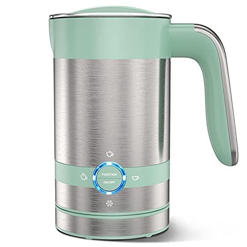 Elemore Home Elektrischer Milchaufschäumer, 4 in 1, magnetisch, heiß und kalt, 96,4 g, 192,8 g, automatischer Schaumbereiter für Kaffee, heiße Schokolade, Latte, Cappuccino Grün