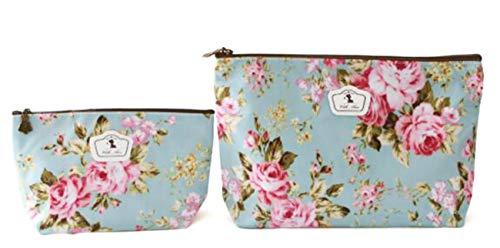 NOVAGO Lot de 2 Pochettes Fleuries (Tailles différentes) Tissu Plastifié Solide Durable et imperméable (Fleurs/Fond Bleu)