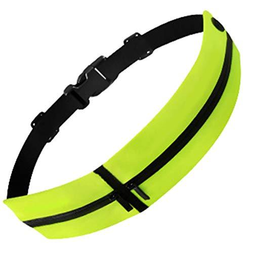 Angyu Riñonera Deportiva Ajustable con Cierre Cremallera Running Belt para Puerto Auriculares y Cinturón Dinero para Deportes Bicicleta Viajar Gimnasio (Verde)