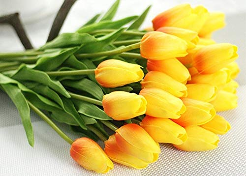 Artificial Flowers 1pc PU Tulipes Fleurs artificielles Calla Contact réel artificiales Para Decora Mini Tulip Calla for la Maison décoration de Mariage Fleurs (Color : A Orange Calla)