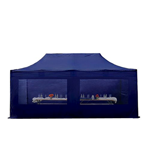 Folding gazebo tent Gazebo Folding Tent 4x8m–approx. 500g/m² Plane and Approx. 50mm Tent Party Tent Garden Marquee Sun Protective Mark Popup, 4sides cm (Panorama) (Dark Blue)