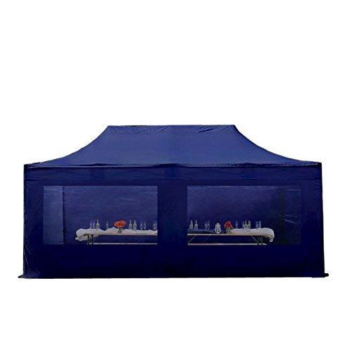 Cenador plegable de pabellón plegable–Tienda 4x 8m–500g/m² aprox Plane + 50mm aprox armazón de aluminio––Carpa para jardín jardín tienda Protección Solar Mark Stand Emergentes, con 4laterales (Panorama), color azul oscuro