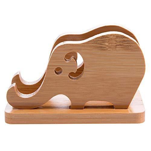 REFURBISHHOUSE Cartoon Elephant Bamboo Portapacchi Porta Cellulare Supporto per Tablet Portatile Portatile Desktop Base Universale