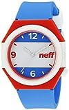 Neff NF0225AMRN Reloj japonés de cuarzo azul, unisex pantalla analógica con franja.