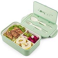 Thousanday Fiambrera para Microondas| Lunch Box Azul 2 Cubiertos de Regalo | Fiambrera Bento con 3 Compartimentos Estancos 1400 ml | Microondas y Lavavajillas | Bento Box Adultos o Niños(Verde)