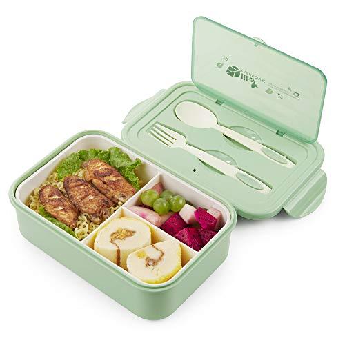 Thousanday Lunch Box Bambini|3 Scomparti e Posate| per Microonde e Lavastoviglie | Ideale per Adulto - Verde