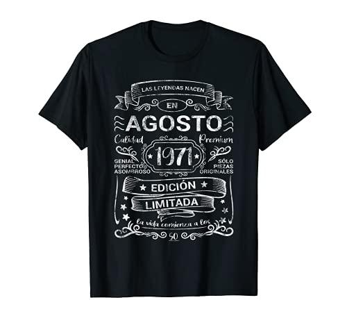 Leyendas Agosto 1971 Hombre Mujer 50 Años Cumpleaños Vintage Camiseta