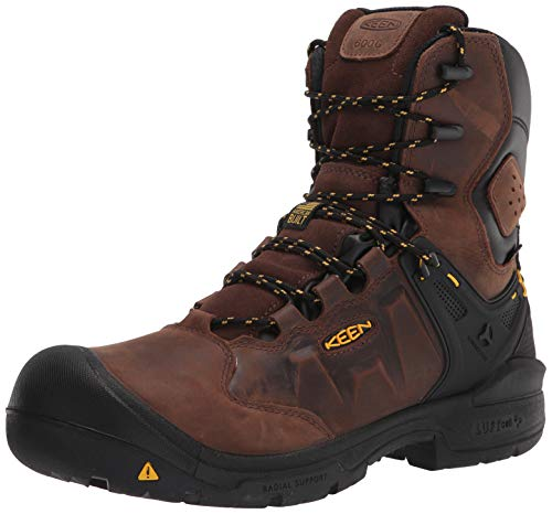 "KEEN Utility Men's Dover 8"" Composite Toe Insulated Waterproof Work Boot, Dark Earth/Black, 11 Wide US"