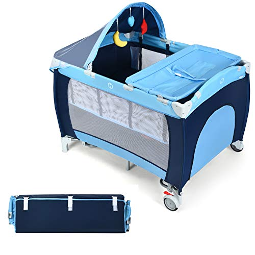 HONEY JOY Baby Playard with Bassinet and Changing Table, 3-in-1 Convertible Baby Playpen, Napper & Changer for Toddler, Foldable Travel Crib with Canopy and Netting, Lockable Wheels, Carry Bag(Blue)