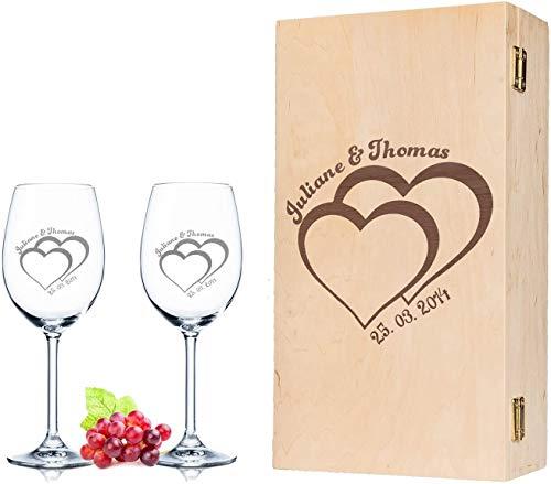 Leonardo Weingläser - Für die Hochzeit - mit Gravur & Name im 2er Set - inkl. gravierter Vintage-Holzkiste - schönes Geschenk für Paare als Hochzeitsgeschenk