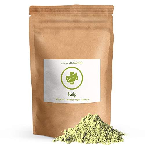 Kelp Pulver - 150 g - natürliche Jod-Quelle - mit Koscher Zertifizierung - 100% vegan & rein - Rohkostqualität - glutenfrei - OHNE Hilfs- u. Zusatzstoffe - Beste Qualität aus Frankreich