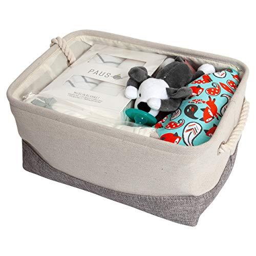 10 Piece Twin Baby Girls Shower Gift Basket Set - Organic Cotton Bamboo Muslin Swaddles, Plush Animal Pacifiers, Kimono Onesie Bodysuits, Multipurpose Diaper Basket, Bandana Bibs - Hearts/Trees