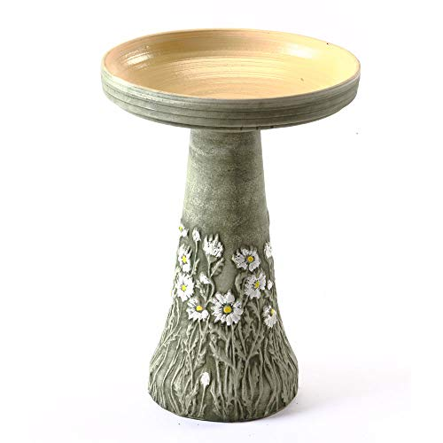 Birds Choice BCDIASY Burley Flowering Daisy Clay Bird Bath, Medium, Green