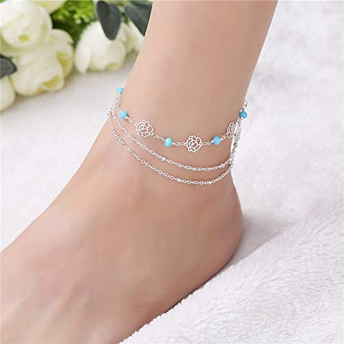 Wholesale European Fashion Woman Girl Party Birthday Gift Multilayers Flower Beads 925 Sterling Silver Anklet
