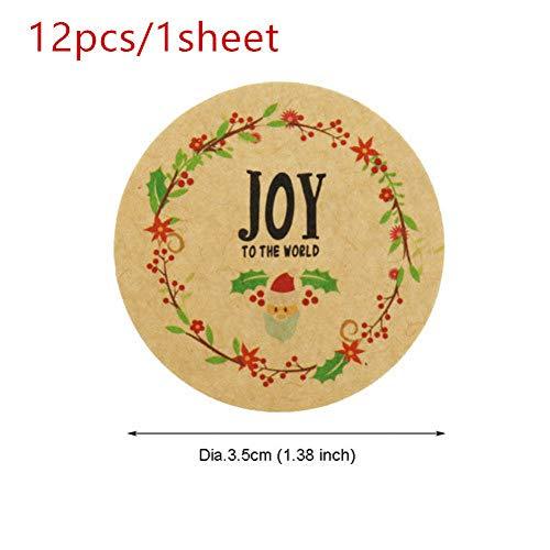 WSJKHY WSJKHY WSJKHY Kerstpapier-stickers, met tekst 'Frohe Kerstmis 12 stuks 1 vel