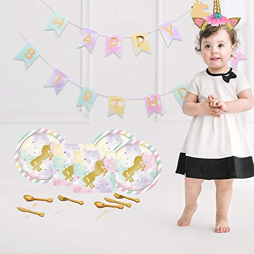 Unicorn Party Supplies Set (85 Pieces) - Serves 16 - Complete Pack ideal for Girls Birthday, Baby Shower - Includes Gold Headband, Plates, Napkins, Tablecloth, Banner, Favors and Decorations - Plus free Gift Invitation and Thank You Card