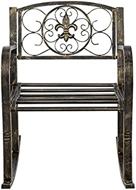 CAIDE-STORE Garden Products Metal Outdoor Single Iron Art Rocking Chair Seat for Patio, Porch, Deck w/Scroll Design, Blackene