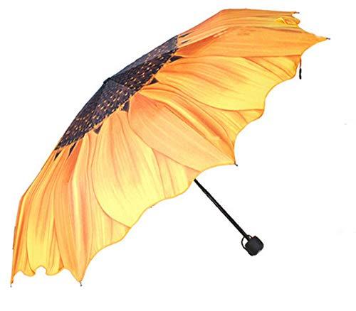 SD&EY Regenschirm, Sonnenschutz, UV-Schutz, Winddicht, Automatisch klappbarer Sonnenblumengelb Kompakter Kreativ-Regenschirm, Rutschfester Tragegriff, Geeignet für Geschäftsreisen