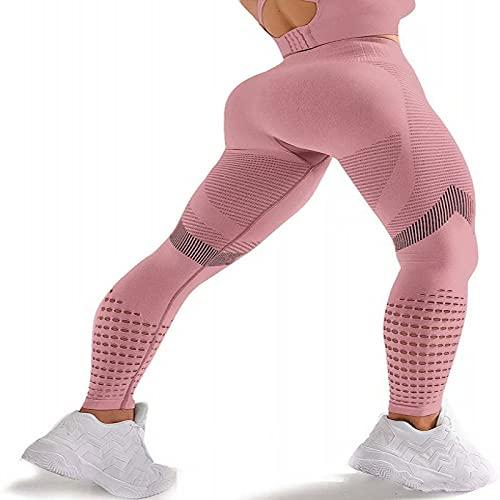 Sin costuras una alta y baja piernas apretadas desgaste yoga deportes basados en la boquilla (polvo de cuero, M)