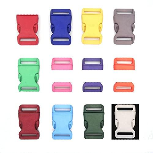 12pcs / pack 3/4 '' (20 mm) Hebillas de liberación lateral contorneadas coloridas de plástico para pulseras de Paracord/Backback-Pink