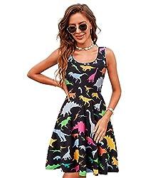 2. uideazone Women's Sleeveless Scoop Neck Summer Dinosaur Dress