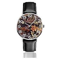腕時計 レザーウオッチ 竜と花 刺繍 ファッション カジュアル ビジネス ユニセックス 軽量 防水 クオーツ男性用 時計 中学生 高校生