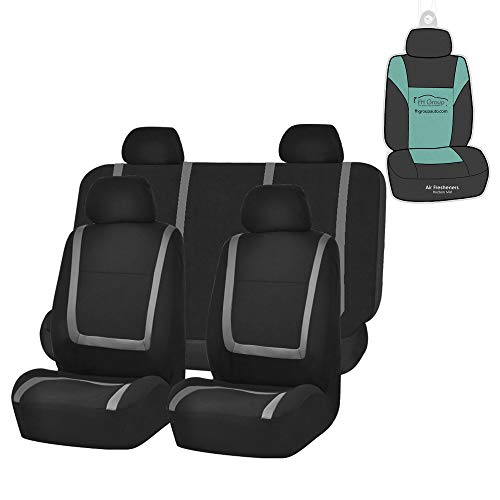 FH Group FB032114 Unique Flat Cloth Seat Covers (Gray) Full Set with Gift – Universal Fit for Cars Trucks & SUVs