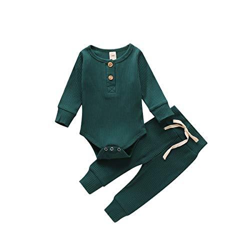 Neugeborene Unisex 2 Stück Baby Kleidung Junge Mädchen Solid Button Bodysuit Strampler Langarm Tops Kordelzug Hosen Strick Outfit (Dunkelgrün, 0-6 Monate)