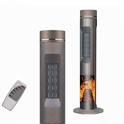 FMXYMC Patio Electric Heaters, Simulated Flame Fireplace Heater Fan, Garden Outdoor Comfortable Warmer with Remote Control, 12 Hours Timer, Low Noise, 90° Range Shaking Head