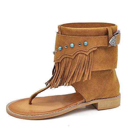 IF Fashion Scarpe da Donna Sandali Infradito Etnico Frange Pelle Sintetica A57 Camel N.40