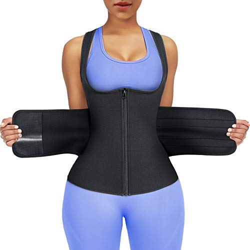 CtriLady Waist Trainer Belt for Women Waist Cincher Trimmer Sweat Sauna Belt Slimming Belly Band Workout Belt Body Shaper for Weight Loss (Black, XX-Large)