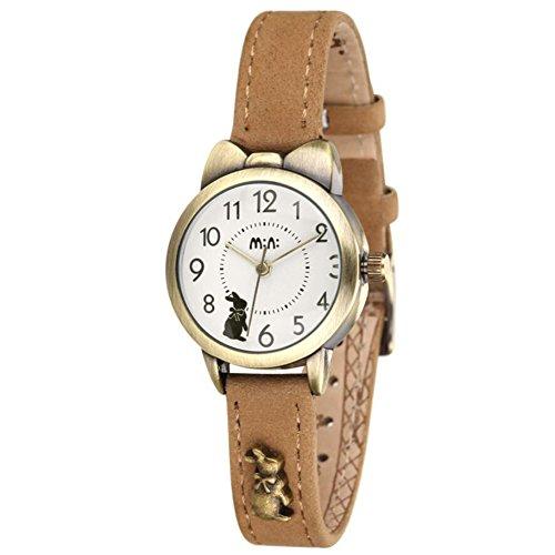 DREAMING Q&P Damen Quarz Analog Uhr mit Braun Echt Leder Armband Bronze Farbe Edelstahl Kanin Design MW234K