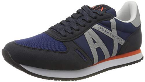Armani Exchange Micro Suede Multicolor Sneakers, Zapatillas Hombre, Navy Reflex Silver, 43 EU