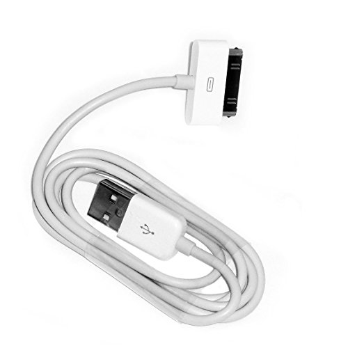 EVERMARKET 6 Feet Replacement White USB Charger Data Sync Cable for Apple iPhone 4, 4s, 3G, 3GS, 2G, iPad 1/2/3 iPod Touch, iPod Nano (1 Pack)