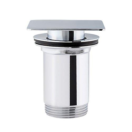 Aquabad Push Up (Pop up Ventil) Ablaufgarnitur für Waschbecken mit quadratisch geradem Deckel in Chrom