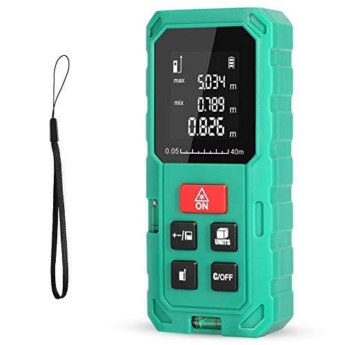 Telémetro láser, HD 40m con rango distancia de medida 0,05~40m /±1,5mm, pantalla retroiluminada LCD con burbujas de nivel Medidor Láser con función silencio y rápida medición, IP54,Niveles de Burbuja