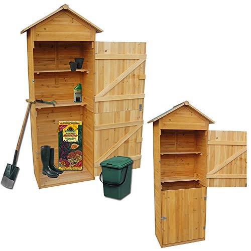 Melko® XXL Gerätehaus Geräteschuppen Gartenschrank mit Spitzdach, aus Holz, 79 x 49 x 190 cm, Geräteschrank Gartenhaus